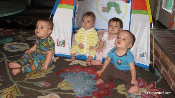 One evening, the quads enjoyed an Elmo movie in their new tent given to us from a friend.