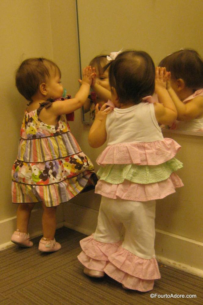 The girls were totally enamored with seeing their beautiful reflections staring back at them.