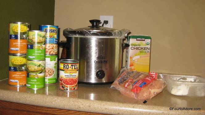 Green Chicken Chili Dump these ingredients in the Crock Pot: 4 chicken breasts, 1/2 box chicken broth, 2 cans green enchilada sauce, 1 can rotel, 2 cans corn drained, 2 cans white beans (rinsed and drained), 8 oz cream cheese.  Cook on low 6-8 hrs or on high 4 hrs.