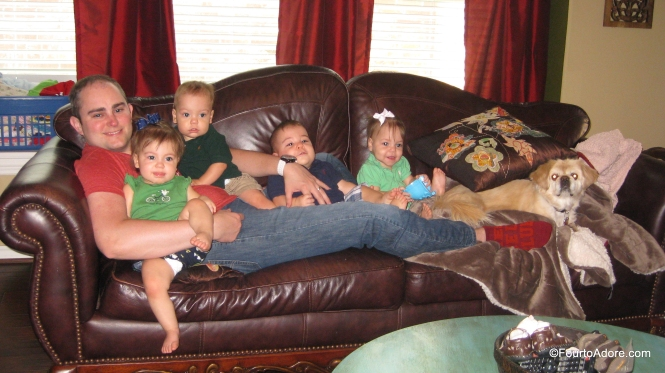 "George was sitting on the couch with Mason when Rylin signed, ""please"" to join them.  Before we knew it all four wanted to be there with him."