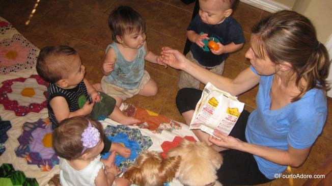 I can't recall who started this snack frenzy, the dogs or the babies..