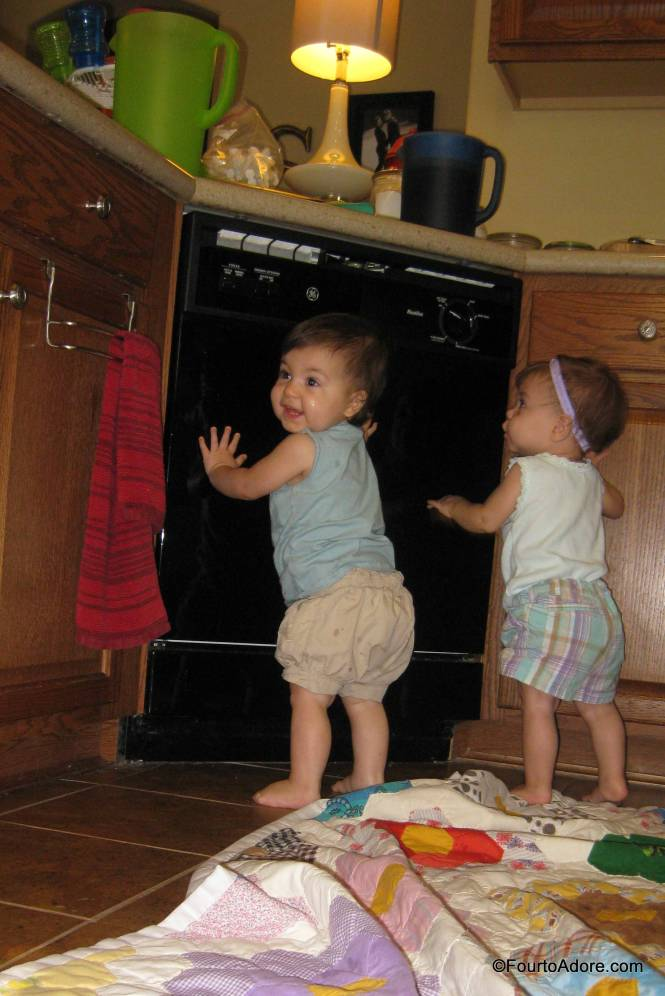 I think the girls noticed their reflection in the dishwasher door, much like the store mirrors at the mall.
