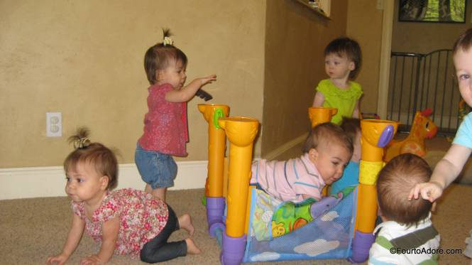 Capturing four toddlers in a single picture proved impossible.  This was my best attempt.  I spy seven babies and it looks like total mayhem.