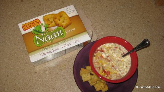 The naan crackers were the perfect companion for my crock pot green chicken chili.