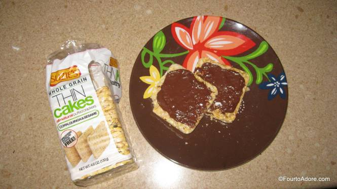 The babies screeched and begged for more rice thins at each snack time.  Unlike other rice cakes, Suzie's are extremely thin and soft enough for babies to munch.  As a decadent treat for myself, I spread chocolate hazlenut spread over them.  They were also tasty with peanut butter, which is a protein source I love for the quads.