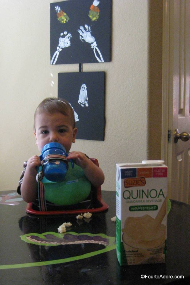 I found the quinoa milk to have a rich, nutty flavor and wasn't sure the babies would approve.  They did!  The boys gulped it just like they do with cow's milk!    They even enjoyed the unsweetened version.