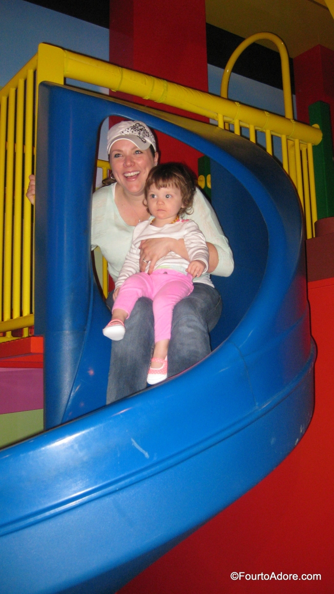 Each of the babies had a turn on the spiral slide with their mommy.  I snapped a picture of Amber & Logan.