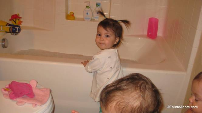 The baby wash created nice, thick bubbles, which Rylin was ready to explore.