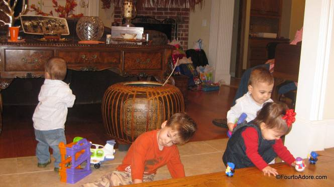 Jennifer's youngest child jumped right in with the quads and generously shared his toys.