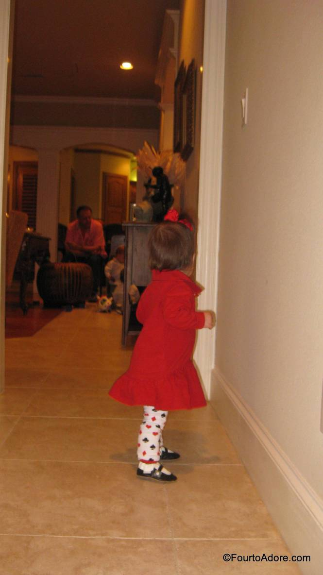 Sydney loved the long hallways in the house and trotted off independently.