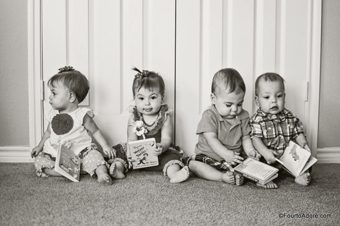 Photographer, Christina Childress, captured this group shot during their one year photo session.