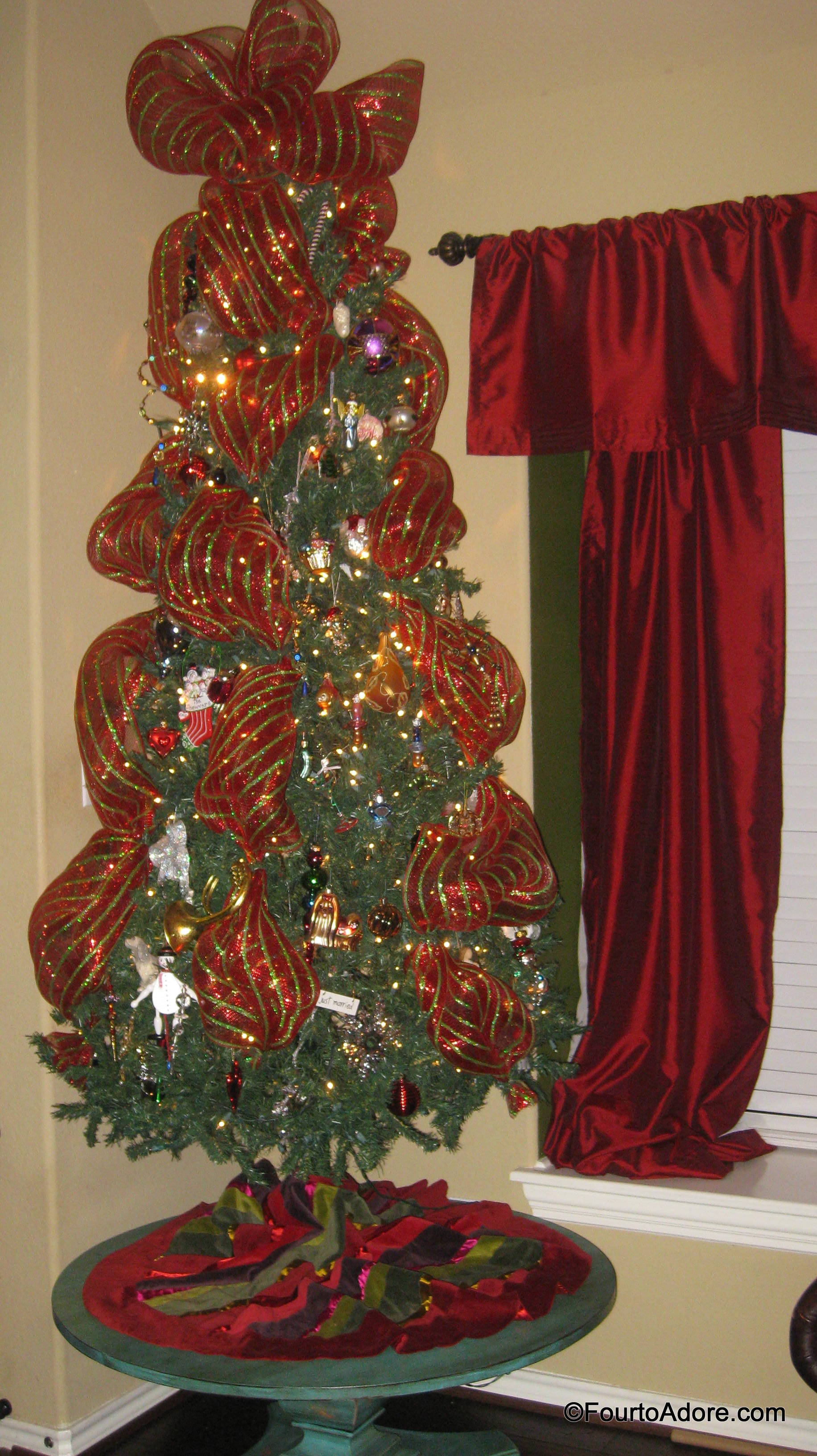 mesh ribbon on Christmas tree – Four to Adore