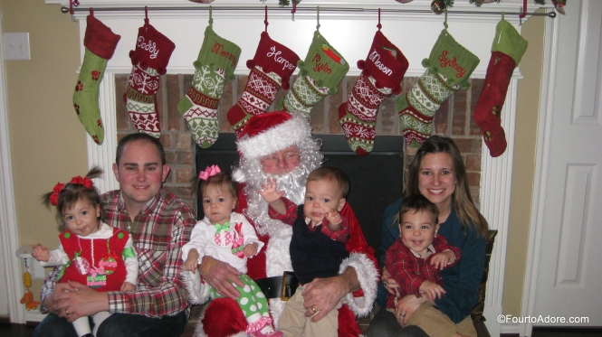Santa needed a little help holding all four babies so George and I joined him.