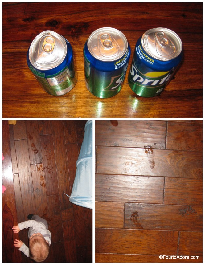 Here's the evidence collected: three Sprite cans with various signs of damage two sets of wet, sticky foot prints, one on either side of the dining table