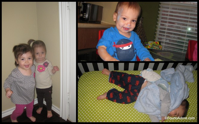 Sisters hugging, a messy boy, and a sleeping boy all made my day.