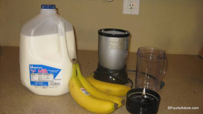 The Magic Bullet does a fabulous job of making banana milk shakes.  Usually, I just blend banana and milk, but I've also added Carnation Instant Breakfast for extra calories on days they don't eat well.