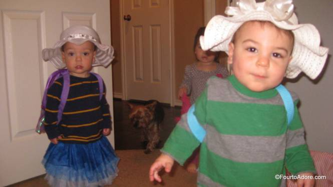 Our dress up trunk is sparse and the boys also made use of the fluffy blue tutu.