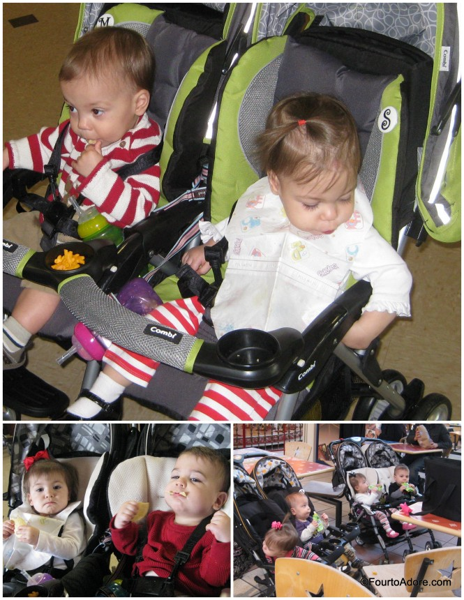 When we are out and about, four high chairs (if any) are not always available so our strollers double as picnic hot spots.  I generally toss finger foods into the snack cups, and use sippy cup straps for drinks.  Thankfully, the Combi Cosmo strollers basically come apart for easy cleaning.