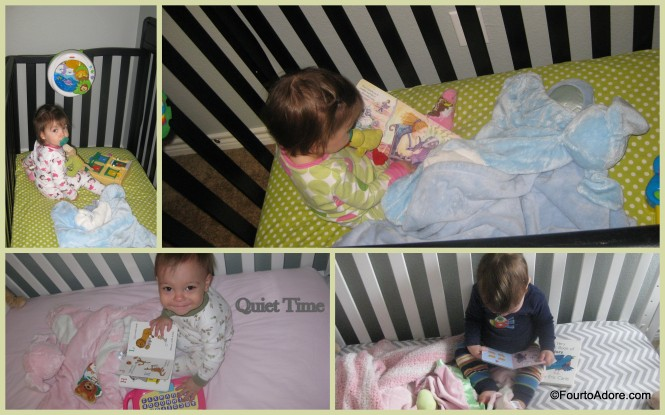 To spice things up, I also let the quads chose a different crib.  They seem to enjoy the new scenery and crib soothers.