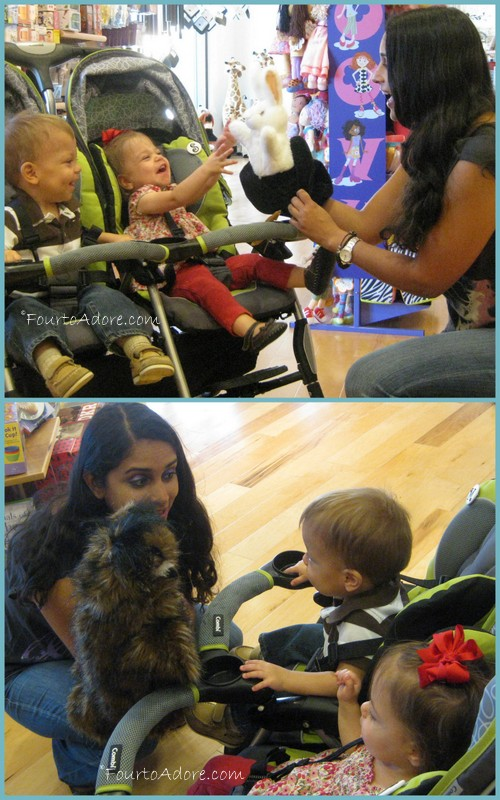 Neha was impressed to find the babies can label most any animal, including iguana and produce the corresponding sound.  Mason was impressed with this owl puppet, which boasted moving eyes and beak.