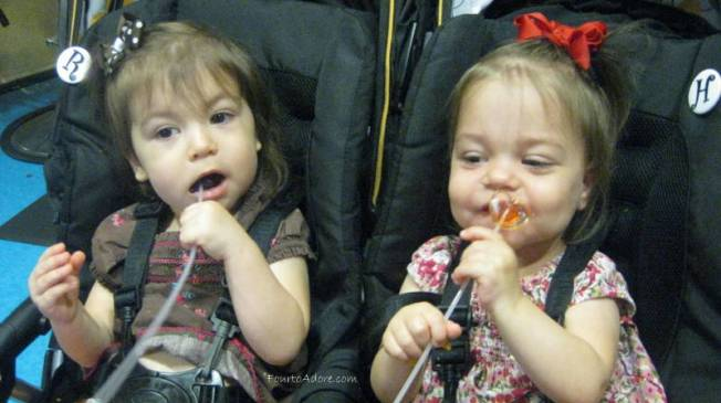 The girls waited patiently the  entire time and therefore earned their lollipops too.