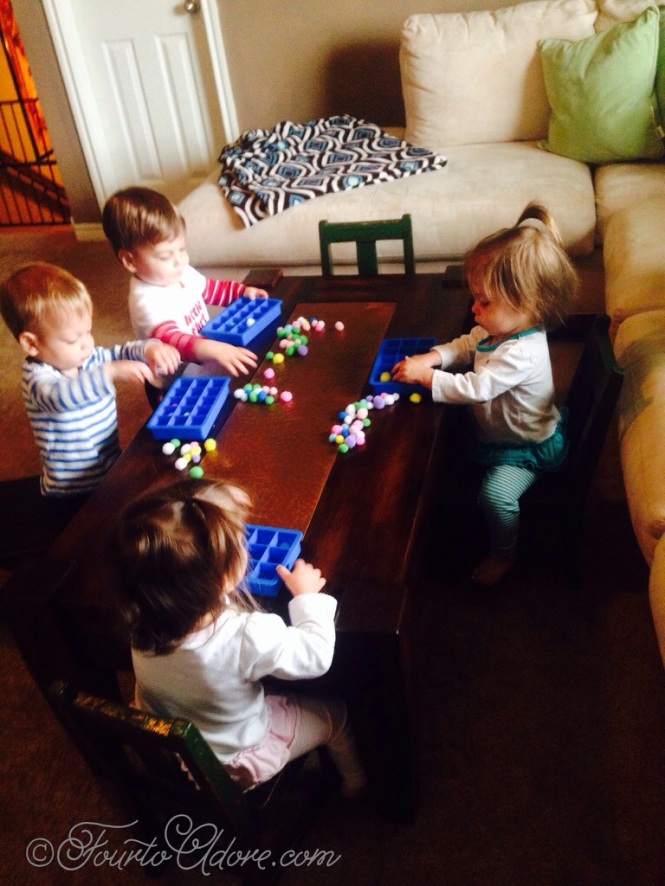 This is how our activity began, at the coffee table with toddler chairs.