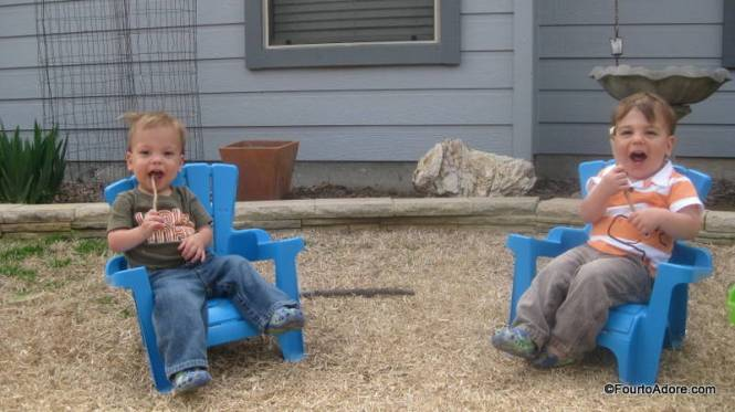 Lounging in baby Adirondack chairs is always a great way to relax.