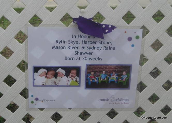 "This sign proudly hung in the ""Garden of Hope"" for other families facing premature births."