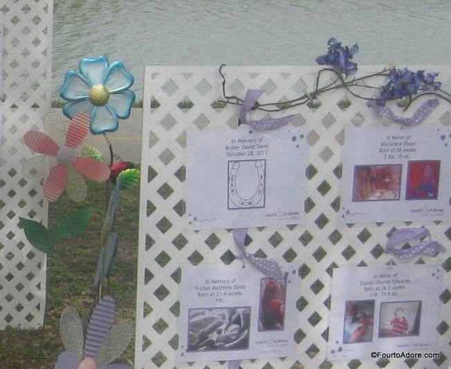 Our sign was surrounded by signs honoring other babies.  Take a close look at each one though.  Some signs honor babies while others are memorials for babies.  We walk to help prevent future families from hanging memorial signs.  No family should have to endure the loss of an infant.