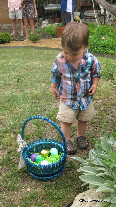 Harper was pretty good at finding eggs.  He just didn't see any reason to bother carrying his basket.