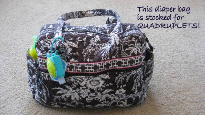 Most people would expect me to use a giant diaper bag, but I prefer this Vera Bradley bag instead.