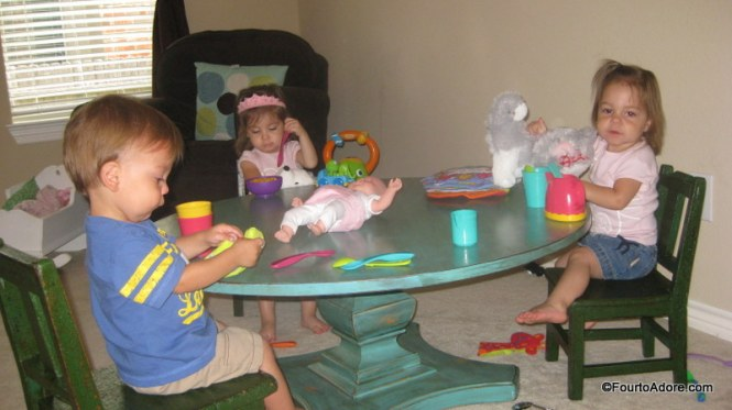 "The playroom was the perfect spot for the quad's table and chairs.  They've been making me ""hot coffee"" nearly every morning.  They even remember to add a little cream and sugar, just the way I prefer it."