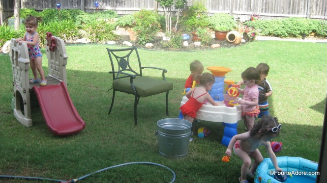 It didn't take long before all eight babies were fully entertained with water play.
