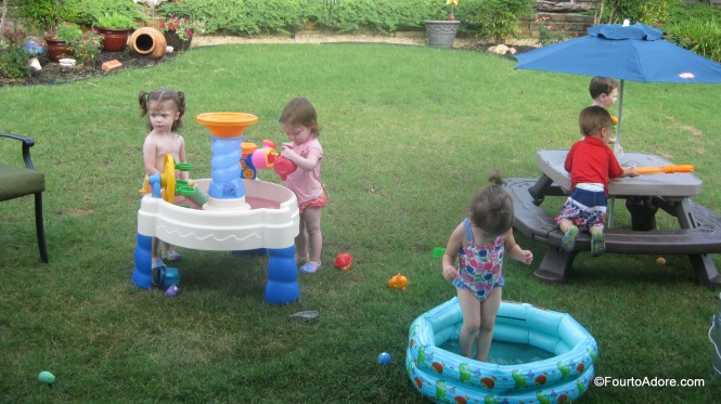 I dropped some of our Color Dropz into the water tables and mini pool for a little pizazz!