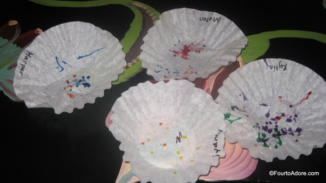 First, the quads scribbled on their coffee filters with maker.  I used Sharpie to write their names.