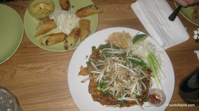spring rolls and pad thai