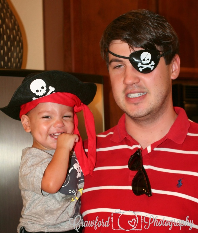 Matt did his best to dress for the pirate theme with his red and white stripes with eye patch.