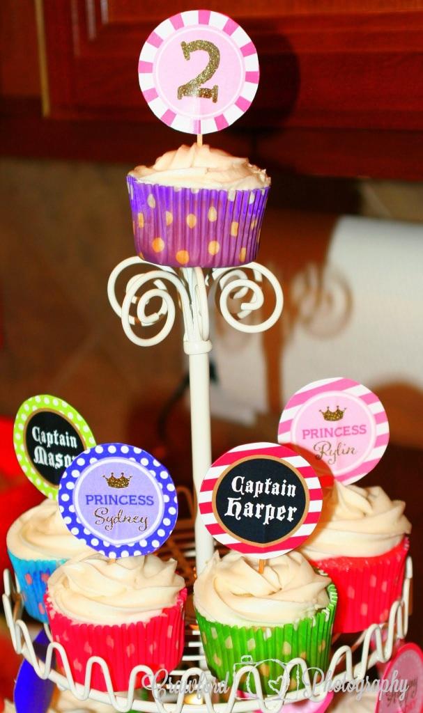 pirates and princess birthday cupcakes