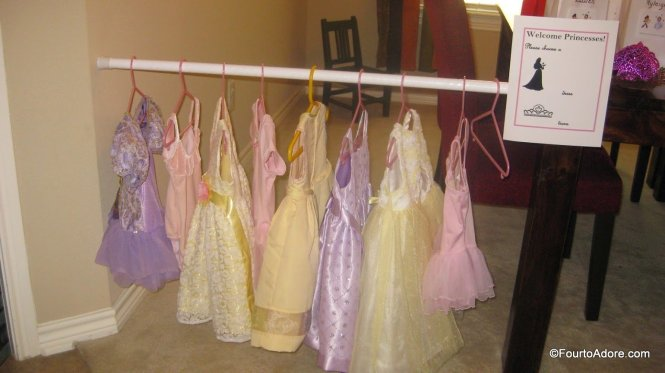 Use a shower curtain rod to hang dress up clothes for a party or to store in a play room.