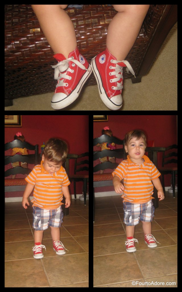 "These red Converse are among my favorite shoes for Harper, but he and I don't always agree about when they ""go"" with the outfit."