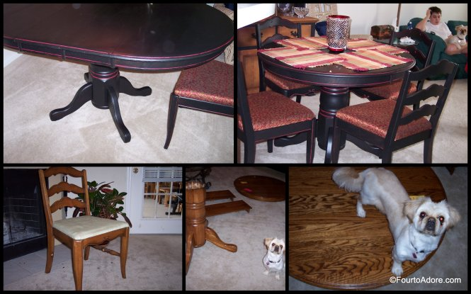 black Pottery Barn Inspired Table and chairs thrift store redo