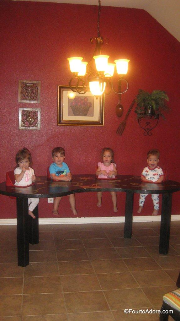 DIY quadruplet feeding table/ toddler table