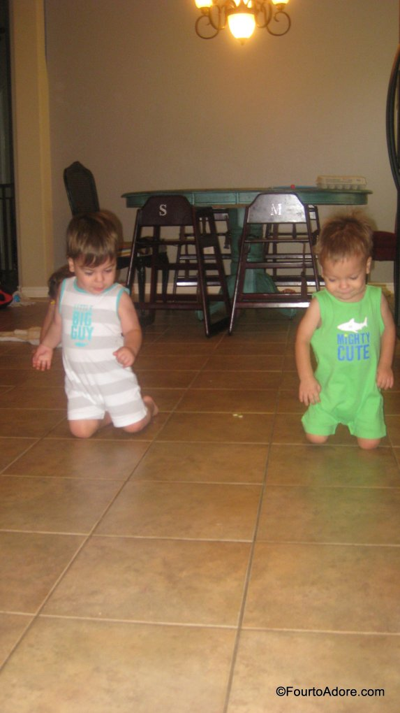 Mason and Harper think it's hysterical to walk around the kitchen on their knees.  As I cook dinner, one of them will start this antic and it's not long before two boys are strutting along the kitchen floor on their knees.