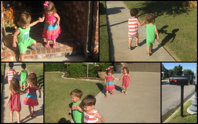 Teach multiples how to hold hands and walk together