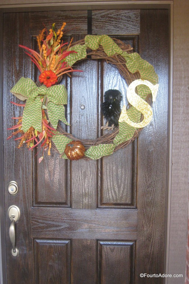 Fall wreath with burlap ribbon and monogram