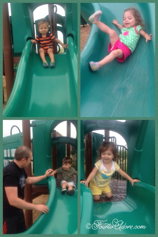 Everyone bravely attempted the toddler slide.