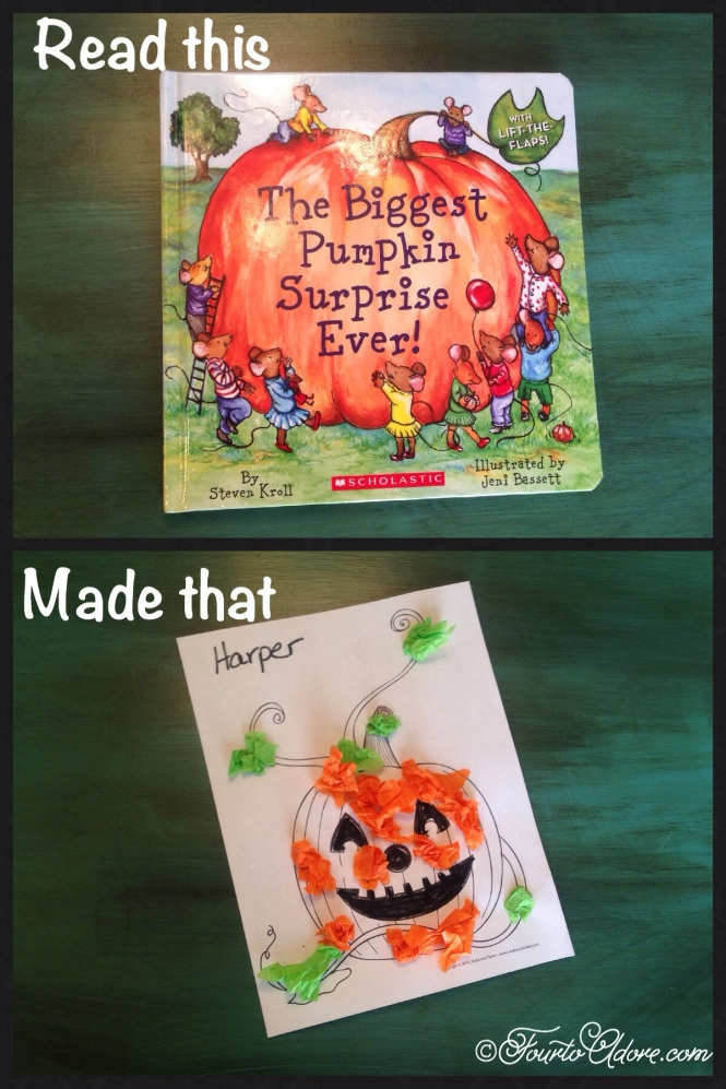 tissue paper stuck onto pumpkin coloring sheet, toddler fine motor craft