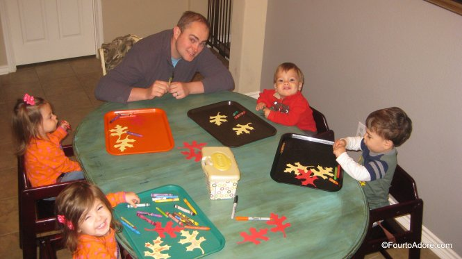 Thanksgiving activity: have kids decorate die cut leaves then write what they are thankful for on them.