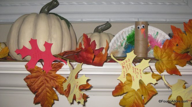 "Add ""thankful leaves"" into fall garland as an activity for the family"