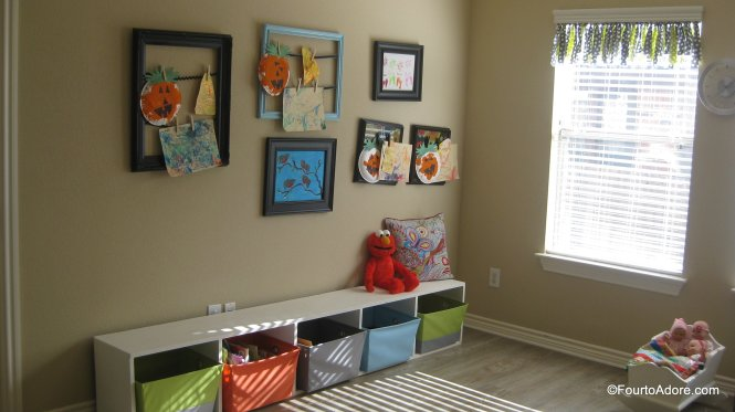 Children's Art Display using empty picture frames